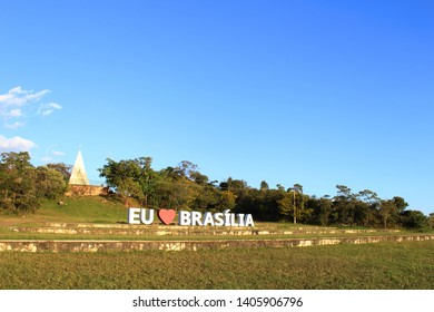 Brasilia, Federal District, Brazil - may 23 2019: Invert sign at Dom Bosco Hermitage