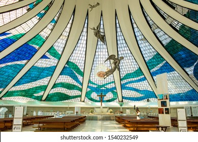 Brasilia/Distrito Federal/Brazil- OUT 14 2019: Partial view of three sculptures of angels suspended from the ceiling of the Metropolitan Cathedral of Brasilia