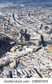 Brasov, aerial old city panoramic view, Romania