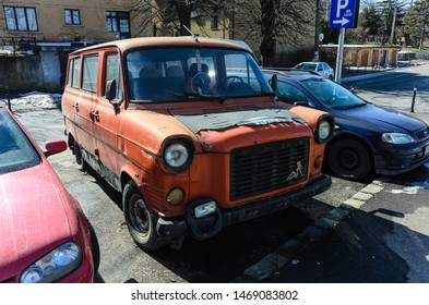 brasov, romania, 06 march 2018, old ford transit van