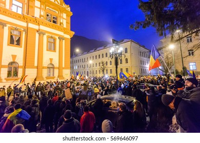 BRASOV, ROMANIA - 1 FEBRUARY 2017: Massive protests in Brasov against planned measures aimed to defend corrupt officials. Some 20000 people marched through  the city and total 400000 all over Romania.