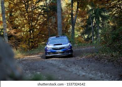 Brasov / Romania - 10/19/2019: Tess Rally 48 - Andrei Girtofan and his Subaru Impreza N15 on PS8 - Glejerie