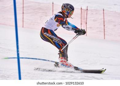 BRASOV, ROMANIA, 12th to 13th February 2018: TELEFERIC  CUP Alpine Ski 2018