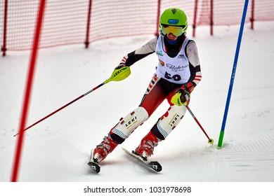 BRASOV, ROMANIA -13 February 2018: Young competitors in Romania Teleferic CUP Junior alpine Ski 2 edition in Poiana Brasov, Romania