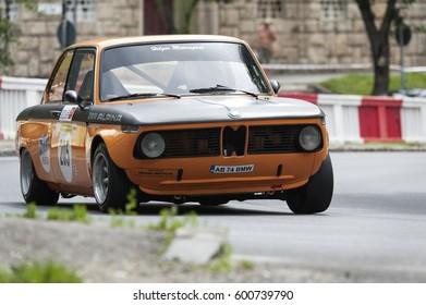 Brasov Romania 18 June 2016.Eduard Tontsch drives a BMW 2002 TI car during Hillclimb of Romania on June 18 , 2016 in Brasov , Romania