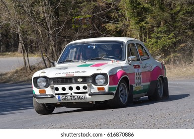 BRASOV, ROMANIA - 30 March of 01 April 2017 : Unknown pilots competing in Tess Rally Brasov 2017 on 30 March of 01 April 2017, in Brasov, Romanaia