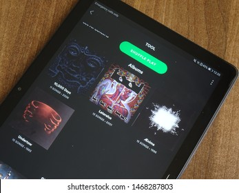 Brasov, Romania August 2 2019 Tool musical group finally added on Spotify, installed on big screen tablet