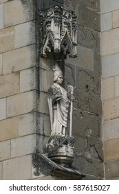 Brasov, Romania, August 22, 2009: Statue on the Biserica Neagra (Black Church) in Brasov.