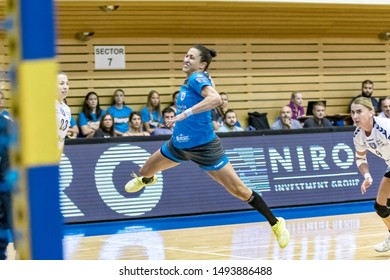 Brasov, Romania - August 25,2019: Handball Player LEKIC Andrea during the game between CSM Bucharest and SCM Rm. Valcea count for Romanian Supercup 2019.