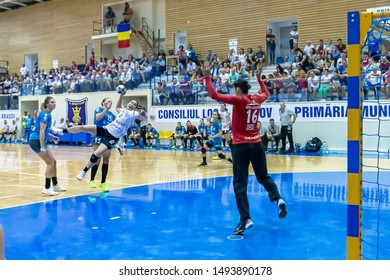 Brasov, Romania - August 25,2019: Handball Player Elghaoui Asma during the game between CSM Bucharest and SCM Rm. Valcea count for Romanian Supercup 2019.