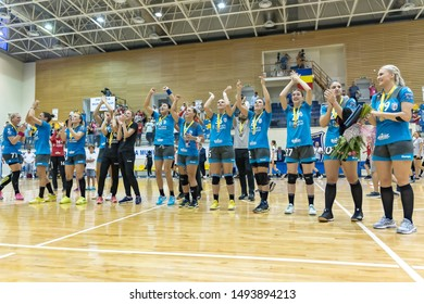 Brasov, Romania - August 25,2019: Handball Player from CSM Bucuresti enjoy the win of the game between CSM Bucharest and SCM Rm. Valcea count for Romanian Supercup 2019.