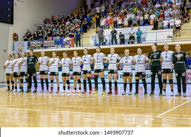 Brasov, Romania - August 25,2019: Handball Player of SCM Rm. Valcea before the game between CSM Bucharest and SCM Rm. Valcea count for Romanian Supercup 2019.