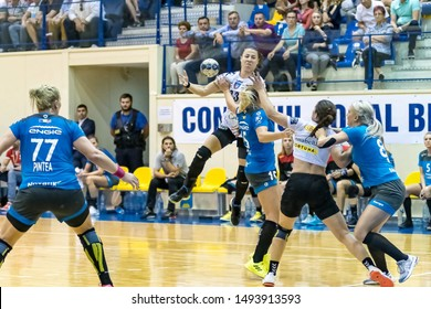 Brasov, Romania - August 25,2019: Handball Player Glibko Iryna during the game between CSM Bucharest and SCM Rm. Valcea count for Romanian Supercup 2019.