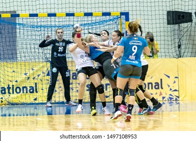 Brasov, Romania - August 25,2019: handball player PINTEA Crina during the game between CSM Bucharest and SCM Rm. Valcea count for Romanian Supercup 2019.