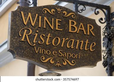 Brasov, Romania, - December 8, 2015: The Wine Bar Ristorante logo printed on a building