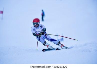 BRASOV, ROMANIA - February 2017: Young competitors in Romania Husqvarna CUP Junior alpine Ski on 4th to 5th of Feb 2017, Poiana Brasov, Romania