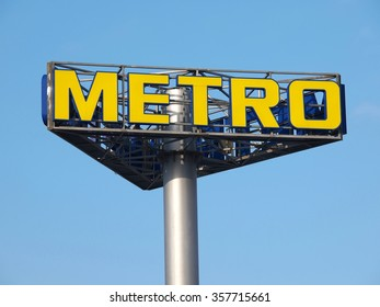 BRASOV, ROMANIA - JANUARY 02, 2016. Metro sign at the entrance of the supermarket in Brasov, Romania. METRO Cash & Carry is an international self-service wholesaler.