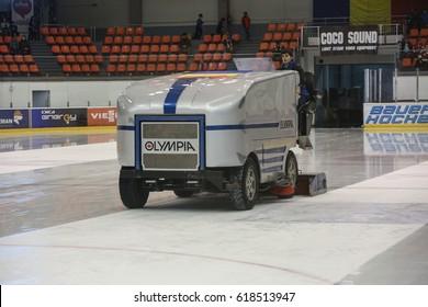 BRASOV, ROMANIA, January 28, 2017: The machine for resurfacing ice in Brasov hockey stadium.