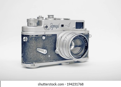 BRASOV, ROMANIA - MAY 22, 2014: Zorki 4 is the most popular of all Zorki cameras, introduced in 1956 by KMZ factory in Russia.