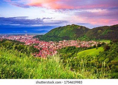 Brasov, Romania. Panoramic view with Tampa Mountain blue hour stunning landscape.