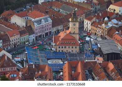 Brasov, Romania - September 1, 2018: Bird's eye view of the Golden Stag (Cerbul de Aur) International Festival at its 50th anniversary of the first edition, in the Council Square, Brasov, Romania.