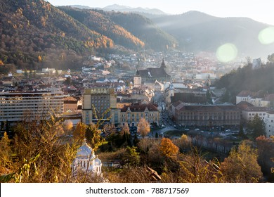 Brasov, Transylvania, Romania - Novemrer 19, 2016: the central square of the old town. Brasov. Transylvania. View from above. The buildings, the people on the square like little ants