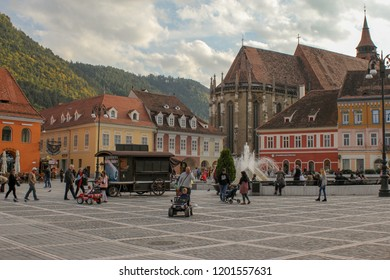 Brasov,  Transylvania, Romania - October 02 2018: Streets of the Brasov old town. City is placed in the Transylvania, region of Romania
