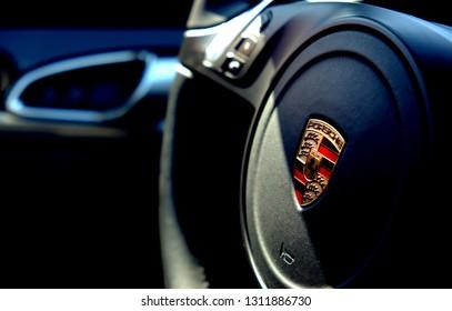 Brasov,Romania 27 August 2016 Porsche Panamera wheel.Close up detail shot of the logo of porsche.