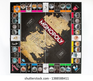 Brasov/Romania - 5/3/2019: Game of Thrones Edition Monopoly Board Game, Collector's Edition, Romanian version, flatlay, game board isolated on white background