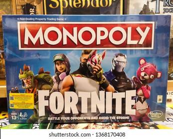Brasov/Romania, April 13, 2019: Monopoly Fortnite Edition Board Game for display in a bookstore