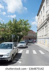 Brasov/Romania - July 13 2017: Colonel Ion Buzoianu street in Brasov, Romania. Brașov is the administrative centre of Brașov County.