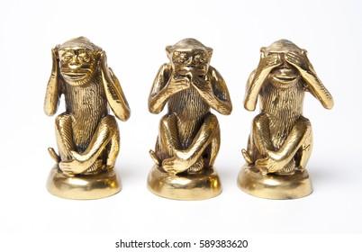 brass 3 monkey on white background