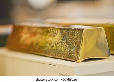 Brass bar. Brass metal bar. Bras ingot. Raw material