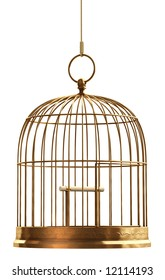 A brass birdcage hanging on a string over white