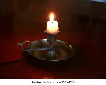 Brass Candle Holder illuminated