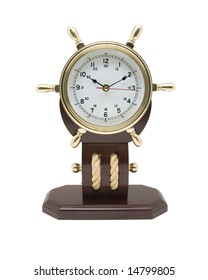 Brass Clock with a nautical theme isolated on a white background