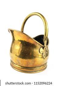 Brass Coal Bucket on White Background