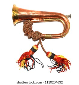 A Brass and Copper Small Bugle  Instrument On White Background