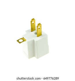 Brass electrical plug adapter isolated on white background