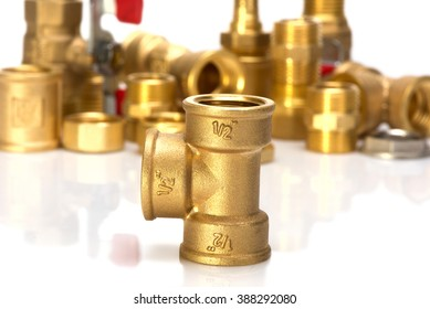 brass fittings for plumbing pipe thread isolated on white background
