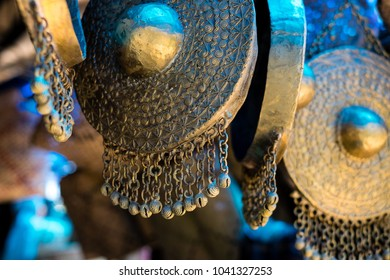 Brass gong, the musical instrument, use to play kulintang by the native people of the Philippines. Close up. Selective focus.