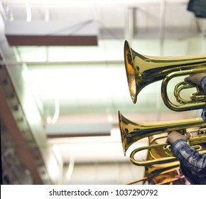 Brass instruments in school band with empty space