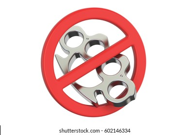 Brass knuckles with forbidden sign, 3D rendering isolated on white background