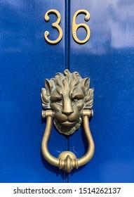 Brass lion shaped door knocker on a blue wooden door with brass number