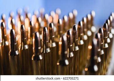 Brass metal bullet cartridge close-up 7.62 gauge caliber