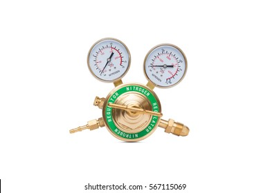 A brass nitrogen regulator isolated on a white background