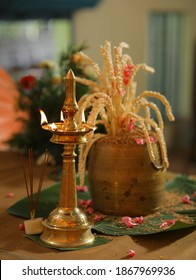 brass oil lamps setup for a traditional kerala hindu wedding ceremony
