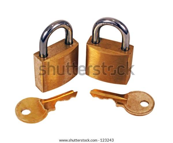 Brass Padlocks with keys on white background.