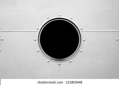 Brass porthole, ferry window frame