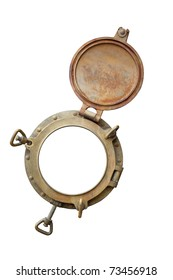brass porthole on a white background